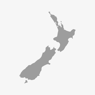Map of New Zealand in gray on a white background