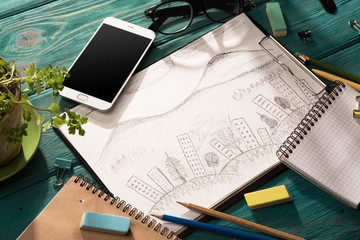 sketch of architecture on the desk