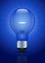 Blue lightbulb vector illustration
