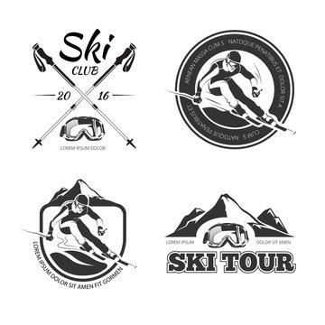 Vintage skiing and winter Sports vector emblems, labels, badges, logos set