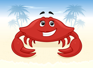 Cartoon crab on the beach vector illustration