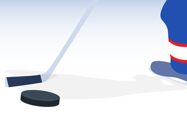 Ice Hockey Player with Stick and Puck. Vector Illustration.