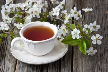 Spring composition with blossom branch and tea cup