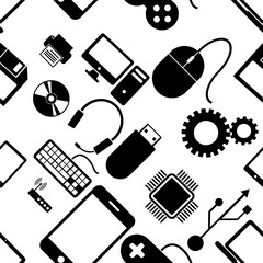 Seamless pattern with electronics, black icons computer technolo
