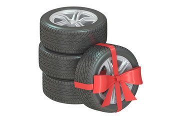 Gift set of wheels wrapped ribbon and bow, 3D rendering