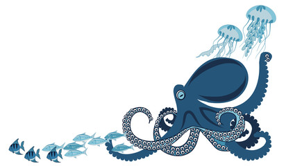 octopus among fish