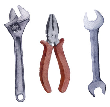 watercolor sketch of a set of tools on a white background