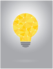 Polygonal yellow idea bulb