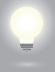 Clear shining lightbulb