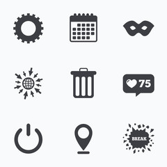 Anonymous mask and gear signs. Recycle bin icon