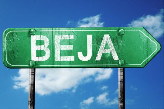 Beja, 3D rendering, a vintage green direction sign