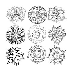Set image of top view plants for drawing in landscape design