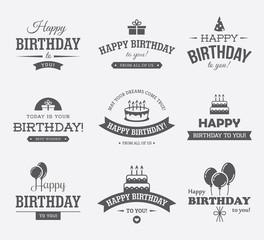 Black Birthday Labels Set