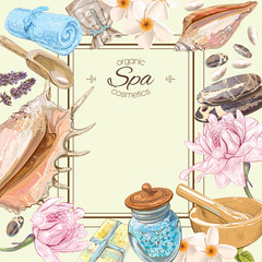 Tropic style spa treatment colorful frame with lotus,shell and stones.Design for cosmetics, store,spa and beauty salon,natural and organic health care products.Vector illustration.