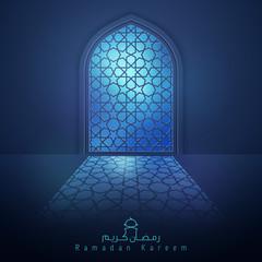 Ramadan Background mosque window with arabic pattern