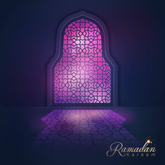 Ramadan Kareem greeting background light mosque window