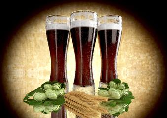 black beers, barley, hops - 3D render