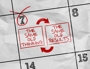 Concept image of a Calendar with the text: The Same Old Thinking - The Same Old Results