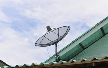 Black satellite dish