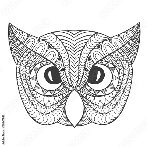 Eagle Owl Head Adult Antistress Coloring Page