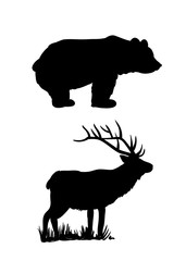 Bear and deer silhouettes