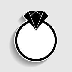 Diamond sign. Sticker style icon