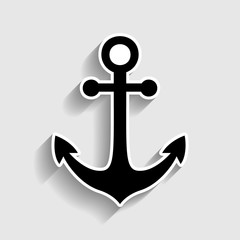 Anchor sign. Sticker style icon