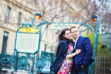 Young romantic couple in Paris