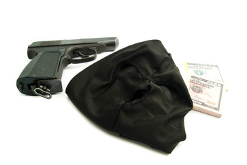 mask, gun and dollars