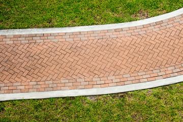 Brick sidewalk through grass from above