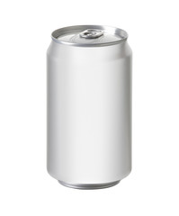 white aluminum can with space for design and clip path