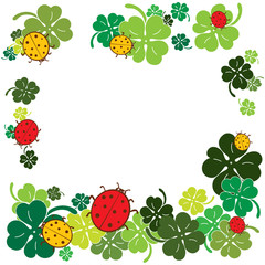 Ladybugs and clover leaves frame. Flat style vector illustration.