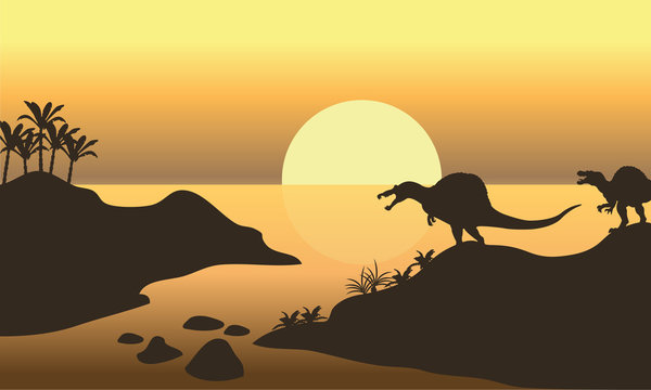 Silhouette of spinosaurus in riverbank