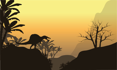 Silhouette of one spinosaurus in hills