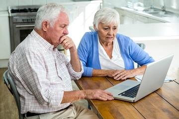 Serious senior couple using laptop