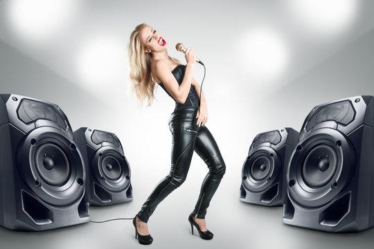 Karaoke singer at night club