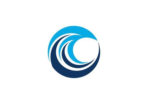 circle, wave logo, water sphere symbol, wind wing icon, globe splash vector design