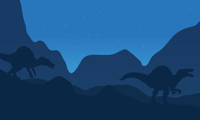 Landscape spinosaurus at the night