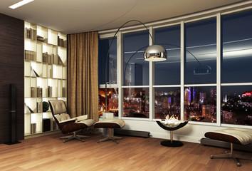 Modern interior night view 3d rendering