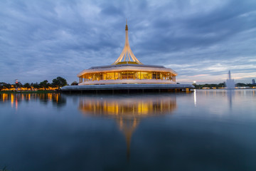 Suanluang RAMA IX / public beautiful building curve in the lake park in sunset time
