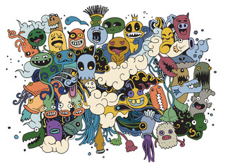 Hipster Hand drawn Crazy doodle Monster City,drawing style