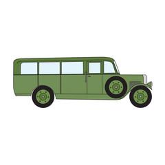 Army green retro bus. Old vintage retro bus. Vector cartoon retro bus. Retro bus with optional spare wheel.