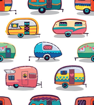 Mid fifties cartoonish campers pattern