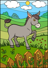 Cartoon farm animals for kids. Cute small donkey stands and smil