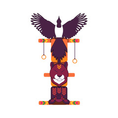 Totem pole - magpie, puma and turtle. North american indian religious symbol.
