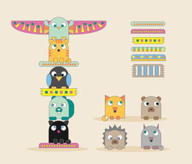Set of nine animals and seven totem pole parts