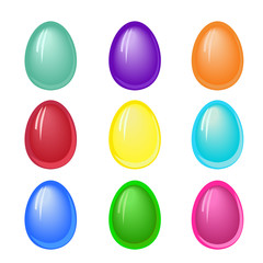 Set of plain colored Easter eggs with jelly effect