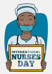 Nurse with Reminder to Commemorate Nurse Day, Vector Illustration