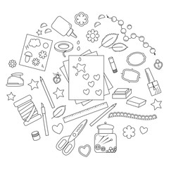 Collection of art supplies and tools for crafting, paper piecing and scrapbooking.Vector illustration