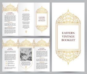 Ornate vintage booklet, line art decor.